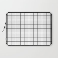 White Black Grid Minimalist Laptop Sleeve
