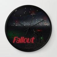 fallout Wall Clocks featuring Fallout Pixels by Kazisvet