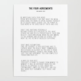 The Four Agreements BW #minimalism Poster