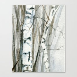 Winter Birch Trees Woodland Watercolor Original Art Print Canvas Print