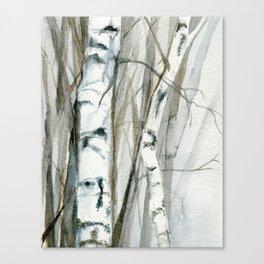 Winter Birch Trees Woodland Watercolor Original Art Print Canvas Print