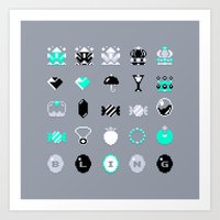 8 bit Art Prints featuring 8-Bit Bling by Spires