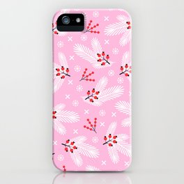 Pine branches, snowflakes and berries on pink iPhone Case