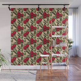 Pomegranate - Red and Green Doodle Pattern with Cream Background Wall Mural