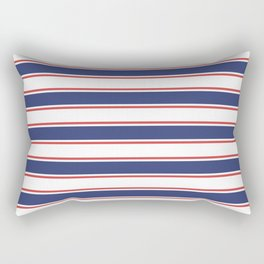 Nautical Red and Blue Stripes Rectangular Pillow