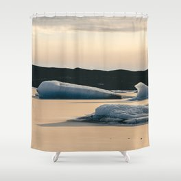 Floating ice floes in an Icelandic lake | Landscape Photography | Print Art Shower Curtain