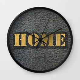 HOME black leather gold letters Wall Clock