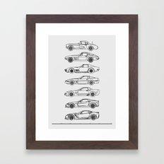 Minimal Vette Evolution Line Art Framed Art Print
