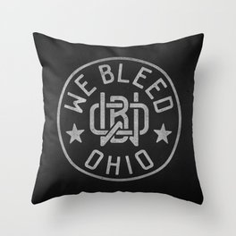 WeBleedOhio Monogram Logo Stamp Throw Pillow