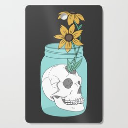 Skull in Jar with Flowers Cutting Board