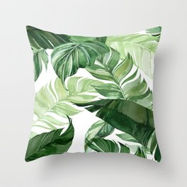 Green leaf watercolor pattern Throw Pillow