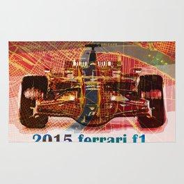 Formula 1 race car 2015 on old vintage new orleans city map Rug