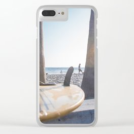Surfboard at the beach Clear iPhone Case