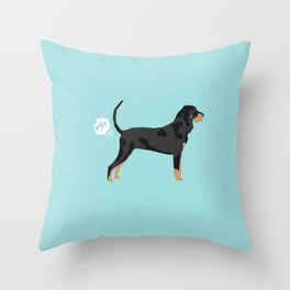 Coonhound funny farting dog breed gifts Throw Pillow