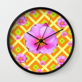 Yellow Pattern Lime on Pink Rose Abstract Wall Clock