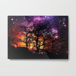Black Trees Orange Purple Halloween Space Metal Print