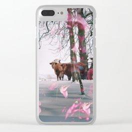 Snowy Cows Clear iPhone Case
