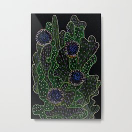 Blooming Cactus, Black and Neon Metal Print