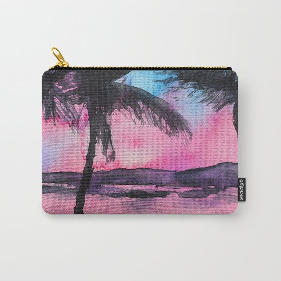 Tropical sunset || watercolor Carry-All Pouch