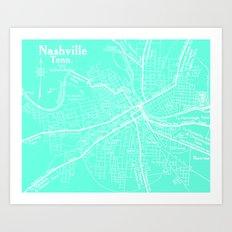 Vintage Nashville Turquois Art Print