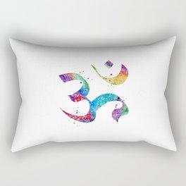 Om Art Aum Symbol Colorful Watercolor Gift Peace Art Spiritual Symbol Gift Hinduism Art Rectangular Pillow
