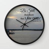 scripture Wall Clocks featuring Hilton Head Island, Scripture by Stephanie Stonato