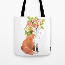 fox with flower crown Tote Bag