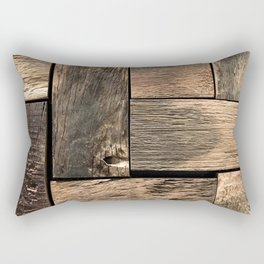 Rustic Wood Block // Tetris Jenga Vibe Real Hardwood Texture Accent Decoration Rectangular Pillow