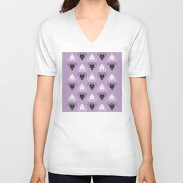 Ornament medallions - Black and white fractals on crocus petals color Unisex V-Neck