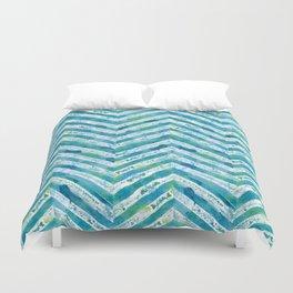 Blue green watercolor chevron pattern Duvet Cover