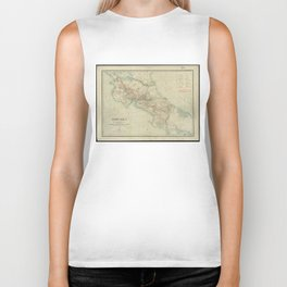 Vintage Map of Costa Rica (1903) Biker Tank