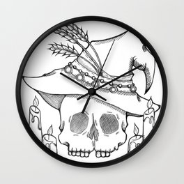 Witch Skull Wall Clock