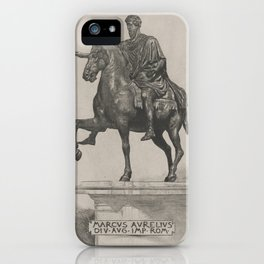 Vintage Marcus Aurelius Statue Illustration (1889) iPhone Case