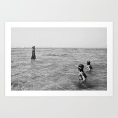 girls swimming in the sea Art Print