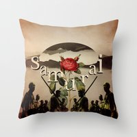 samurai Throw Pillows featuring samurai by Rosa Picnic