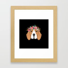 Beagle dog breed with floral crown cute dog gifts pure breed beagles Framed Art Print