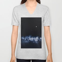Contrail moon on a night sky Unisex V-Neck
