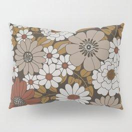 Brown, Orange, and Ivory Retro Flower Pattern Pillow Sham