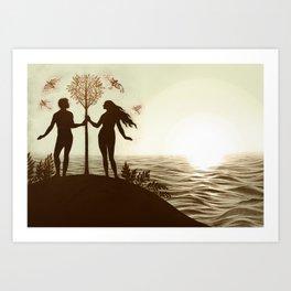 Adam and Eve (Landscape) Art Print