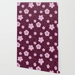 Sakura blossom - burgundy Wallpaper