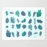 minerals Art Prints featuring Mystical Minerals by Hannah Margaret Illustrations