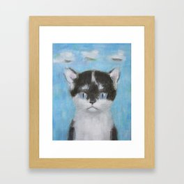 Kitten with Three Clouds Framed Art Print