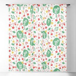 Cherry tree  orchard seamless vector pattern background. Blackout Curtain
