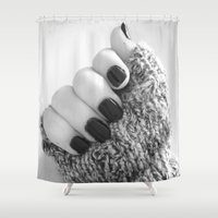 sweater Shower Curtains featuring Sweater Paws by Bee's Photography