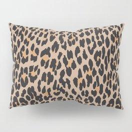 Animal Print, Spotted Leopard - Brown Black Pillow Sham