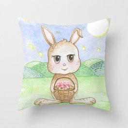 Bunny from the Moon Throw Pillow