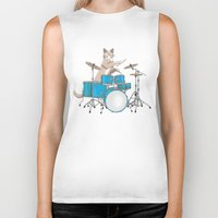 drums Biker Tanks featuring Cat Playing Drums - Blue by Ornaart