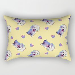 Cute BICHON FRISE Pattern on Pale Yellow Rectangular Pillow
