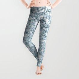 Sparkly Silver & Alice Blue Glitter Ombre Leggings
