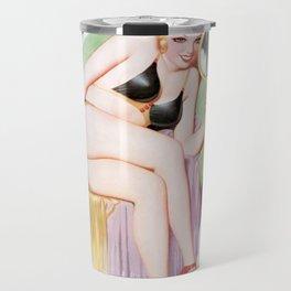 Nostalgic Pin Up Girls Vain Woman Looking in Mirror Bachelor Party Pinup Girl Travel Mug